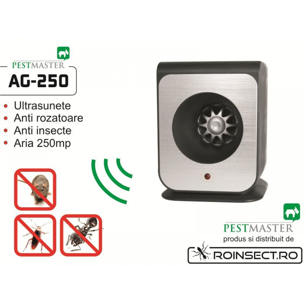 Aparat cu ultrasunete impotriva soarecilor, gandacilor si altor insecte taratoare - Pestmaster AG250 - 250 mp
