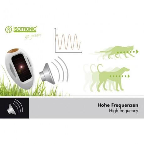 Aparat portabil cu ultrasunete si alimentare solara anti caini pisici tantari si purici SpaceDog 70550 8m exterior, 30mp interior