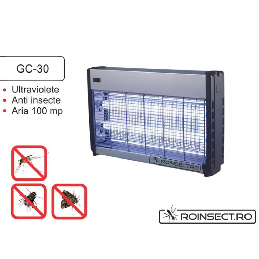 Distrugator insecte pe baza de lampi UV si retea de inalta tensiune electrocutoare GC 30W( 100 mp), semiprofesional