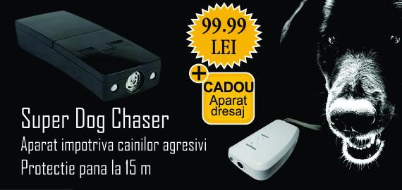 SUPERDOGCHASER aparat ultrasunete anti caini + Dispozitiv cu ultrasunete pentru dresarea cainilor domestici Pestmaster AG015