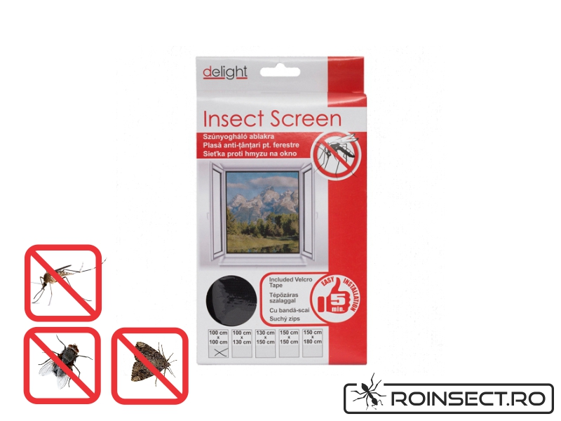 Plasa anti insecte pentru ferestre 150x150 cm - neagra