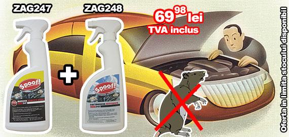 Pachet promotional Spray antirozatoare auto ZAG247 + Spray pentru indepartare miros rozatoare ZAG248