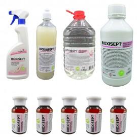 Pachet antiseptic, Bioxisept Gel Dezinfectant pentru maini 1l si 5buc. 100ml, Bioxisept dezinfectant pentru maini, fara clatire spray 750ml, 1l si 5L(pet)