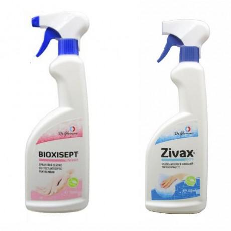Pachet solutii antiseptice pentru igienizarea mainilor si a suprafetelor; Bioxisept spray la 750ml si Zivax spray la 750ml