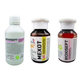 Pachet solutii dezinfectante, solutie bio maini Bioxisept, 1L, gel Bioxisept 100ml si gel maini cu alcool Mexot, 100ml