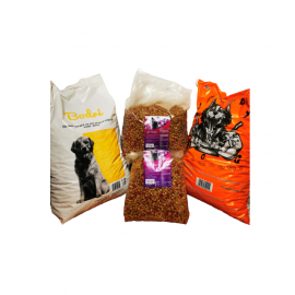 Set hrana animale  companie Bodri, Greedy 10 kg per sac si 2 saci hrana pisici Finci 3 kg si 5 kg