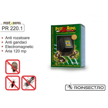 PR220.1- Aparat electronic cu unde electromagnetice impotriva rozatoarelor si a insectelelor taratoare - 120mp
