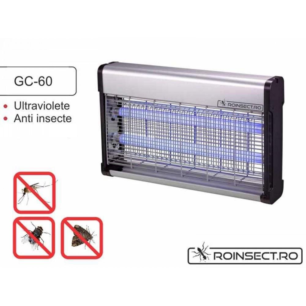 Aparat anti-insecte pe baza de lampi UV si retea de inalta tensiune electrocutoare GC 60 (200 mp)
