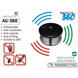 Pestmaster AG 360-aparat cu ultrasunete impotriva rozatoarelor si gandacilor. Acoperire 370 mp