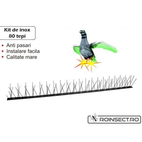 Kit Anti-pasari inox cu 80 tepi (Lungime 1 m)