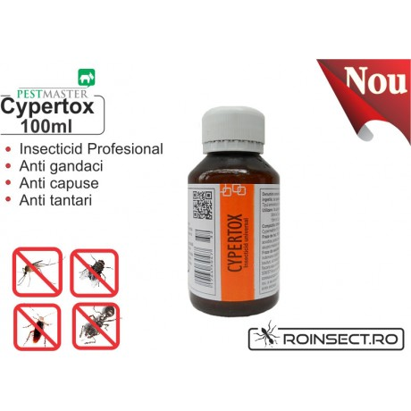 Insecticid profesional impotriva gandacilor, puricilor, mustelor, tantarilor, furnicilor - Cypertox 100 ml