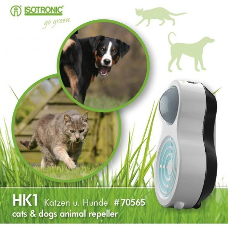 Aparat portabil cu ultrasunete si senzor PIR impotriva cainilor si pisicilor HK1 70565 raza 10m/ 120°
