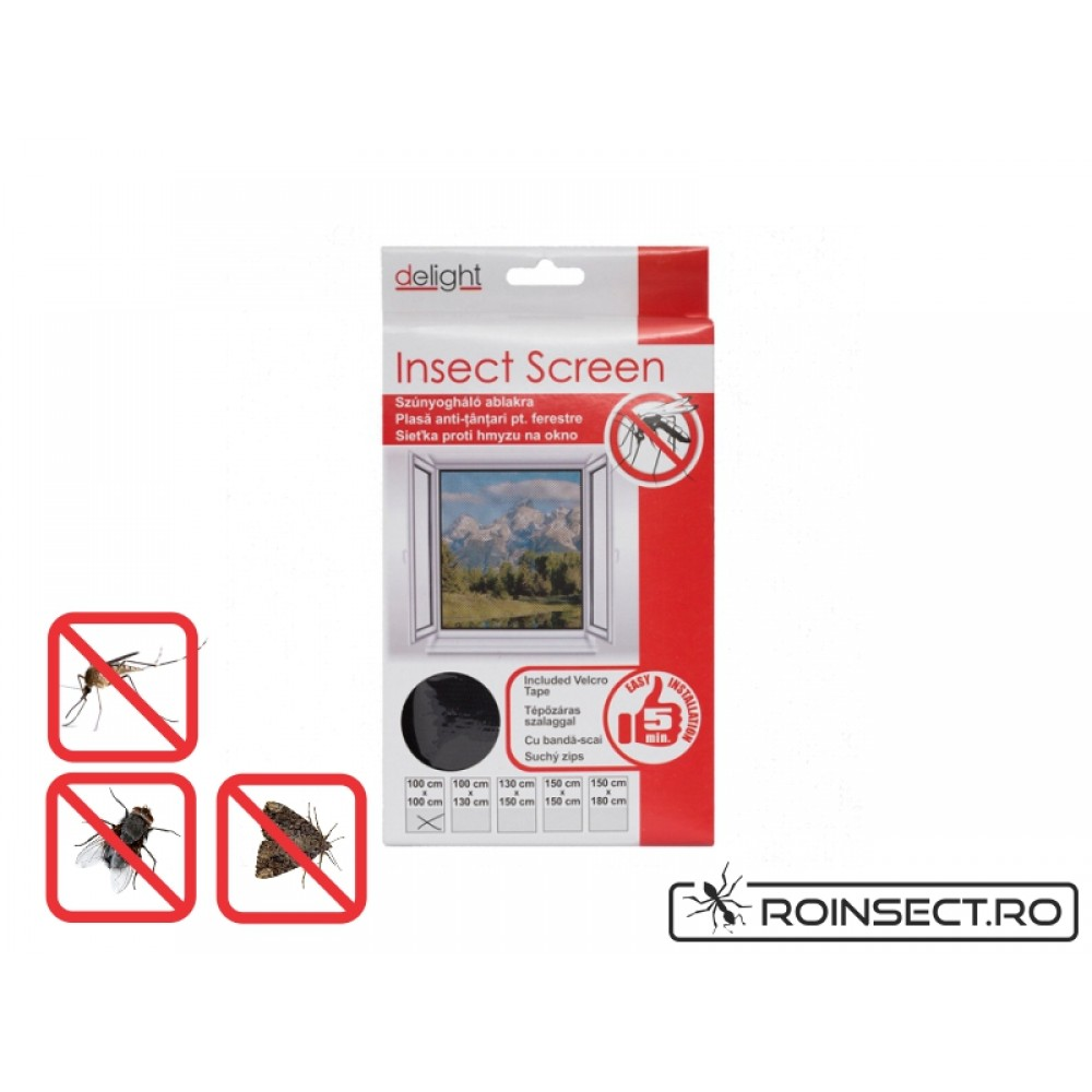 Plasa anti insecte pentru ferestre 100x100 cm  - neagra