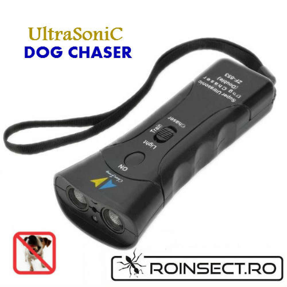 Aparat cu ultrasunete, flash, laser  impotriva cainilor agresivi – SUPER ULTRASONIC DOG CHASER